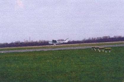 George Lesko landing plane in Barth, Germany - 2001