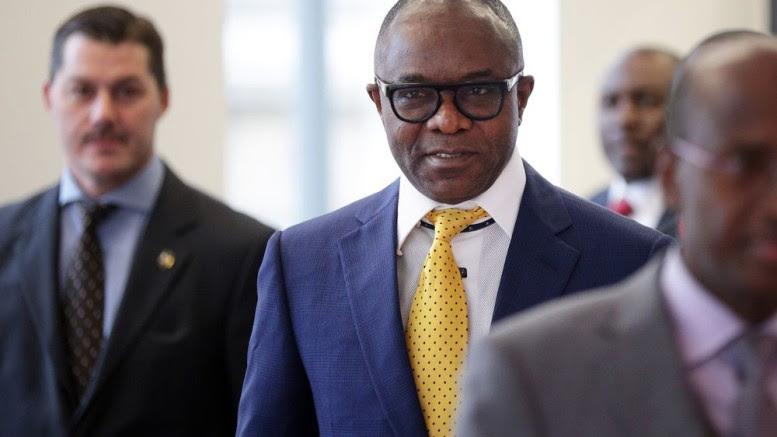 Emmanuel Ibe Kachikwu arrives at the OPEC Secretariat in Vienna, Austria, on Sept. 22, 2017