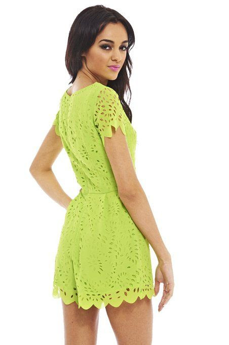AX Paris Women's Allover Laser Cut Lime Romper: Clothing