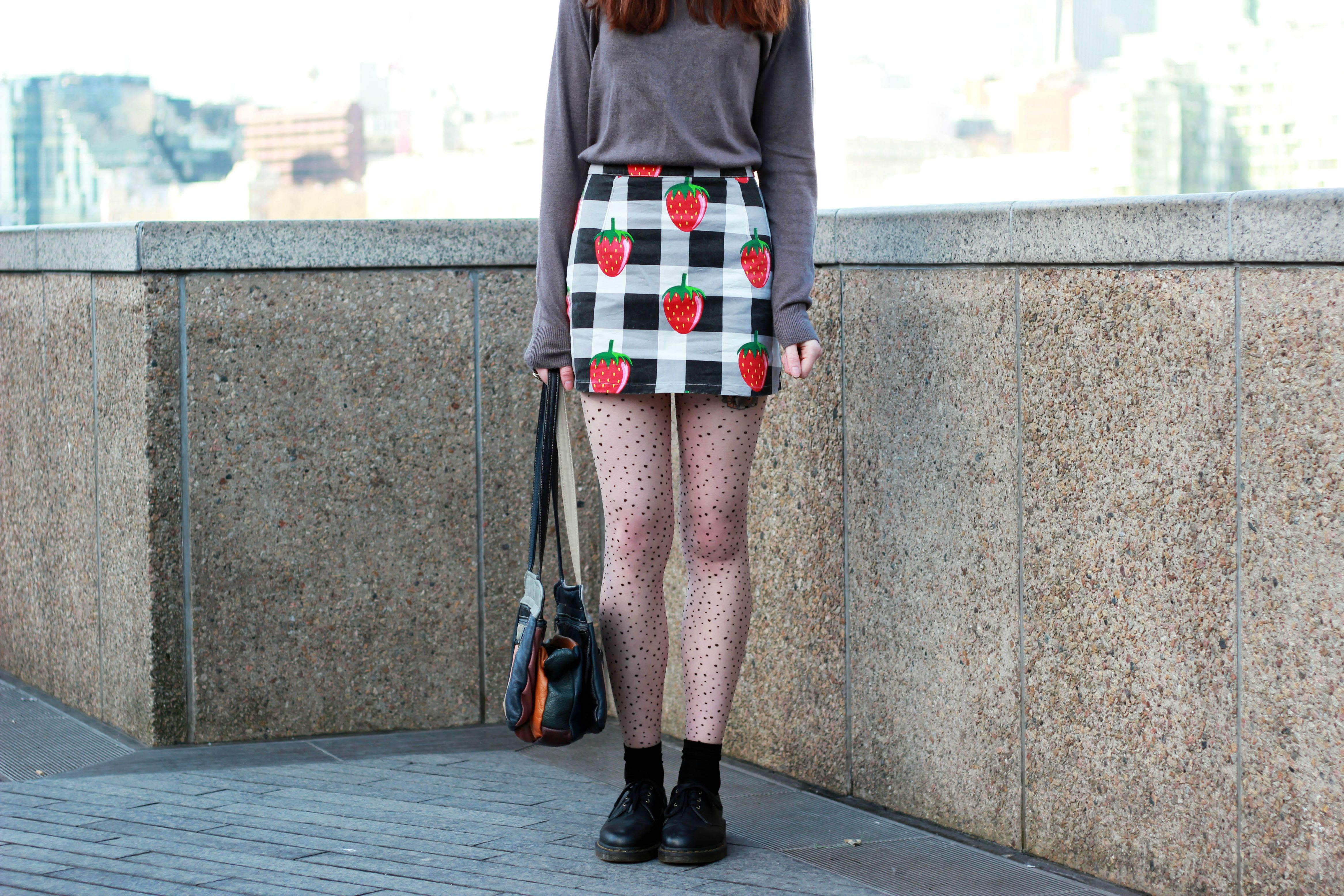 Topshop fedora, Lazy Oaf strawberry check Skirt, UK Tights