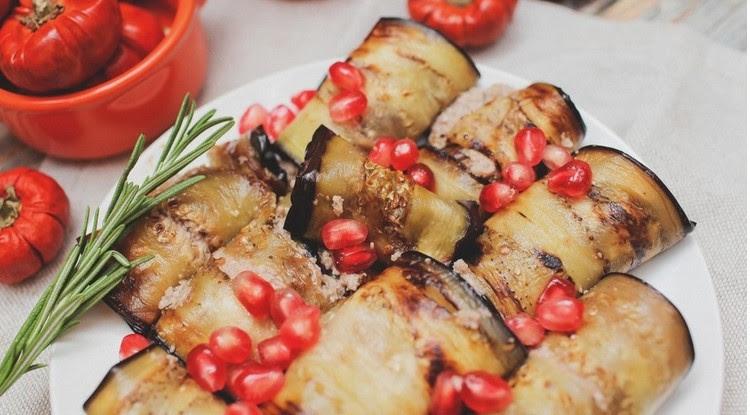 3. Жареные баклажаны в ореховом соусе баклажан, еда, рецепт