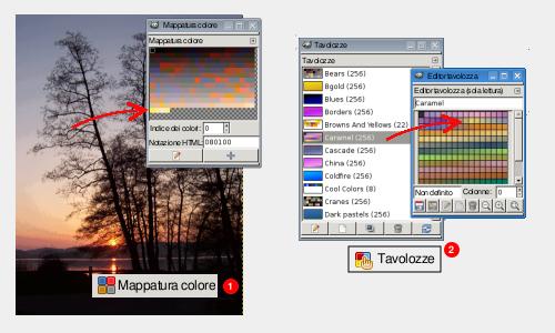 Il pannello Mappatura colore (1) e Tavolozze (2)