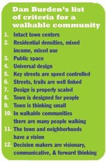 Dan Burden's 12 indicators for a walkable community