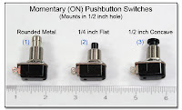 PJ1074: Momentary (ON) Pushbutton Switches - 1/2 inch mounting