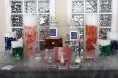 Beverages Table for Halloween or Harry Potter Party.