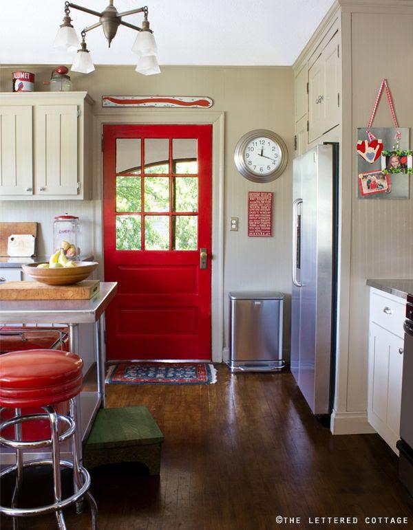 red painted interior door