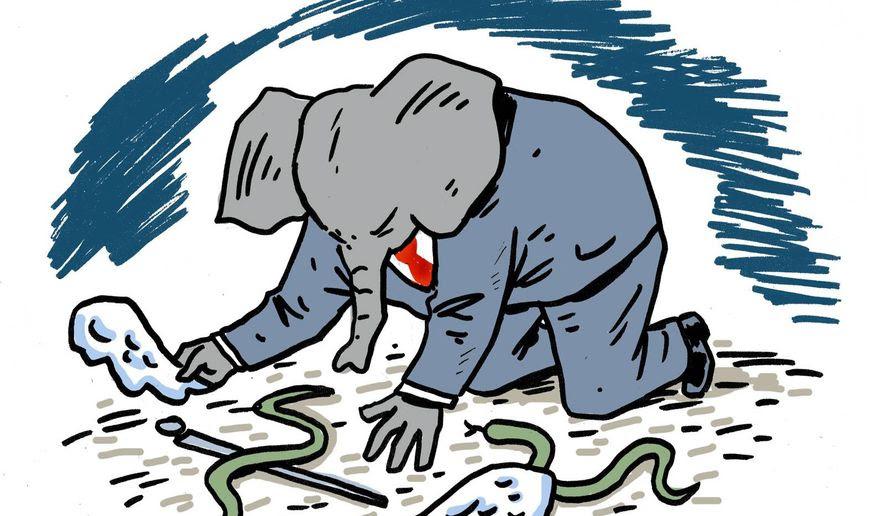 Illustration on GOP disarray over health insurance reform by Mark Weber/Tribune Content Agency