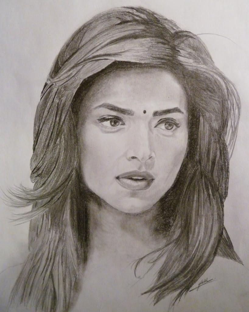818x1024 Indian Girl Face Drawing