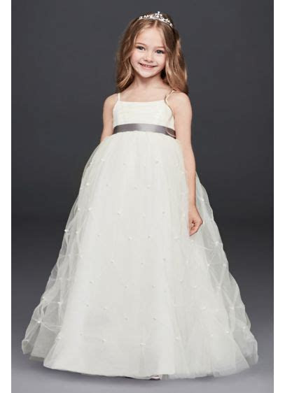 Tulle Flower Girl Dress with Pearl Pick Ups   David's Bridal
