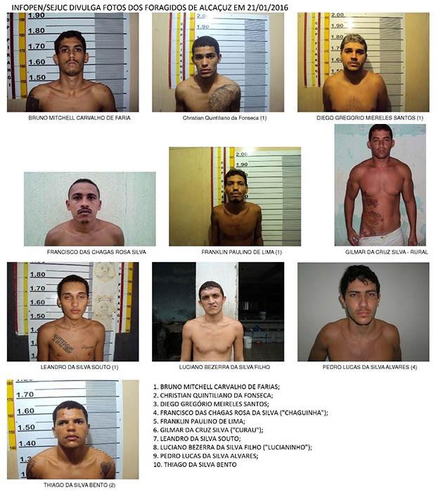 Sejuc divulgou foto de 10 fugitivos de Alcaçuz. Nenhum foi recapturado (Foto: Divulgação/Sejuc)