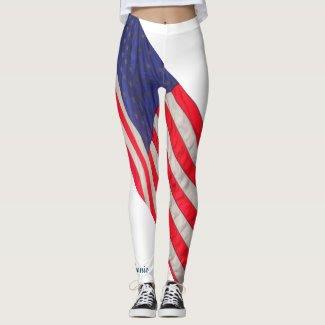 American Flag on White Background w/Name
