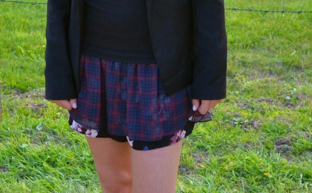 zara double layer skort skirt shorts flower checkered print bershka blazer h&m divided boots biker outfit outfitpost fashion blogger turn it inside out belgium inspiration