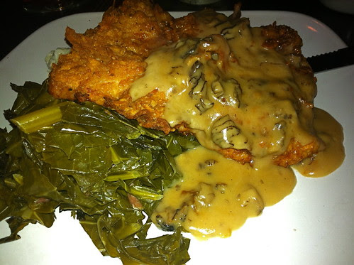 Chicken Fried Pork with cheddar grits and collards.