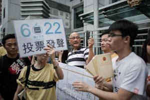 """A demonstrator supporting the """"occupy central""""…"""