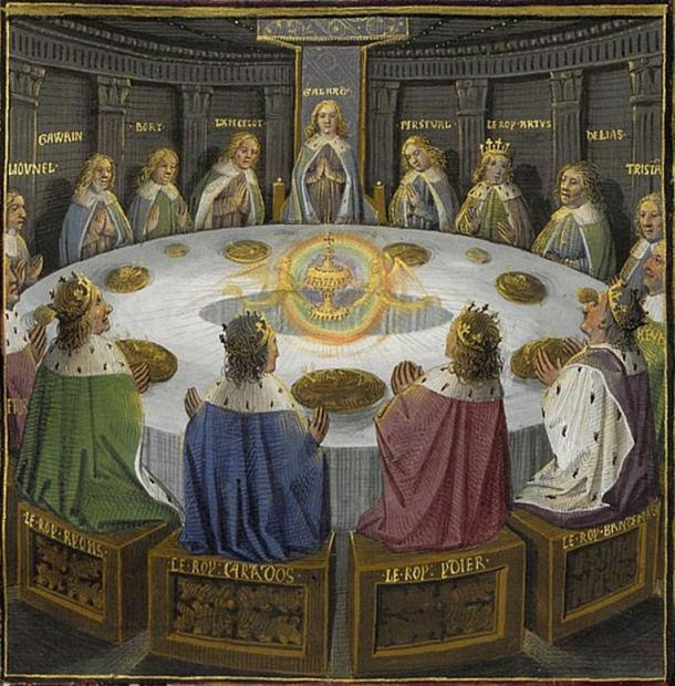 King Arthur's knights, gathered at the Round Table to celebrate the Pentecost, see a vision of the Holy Grail