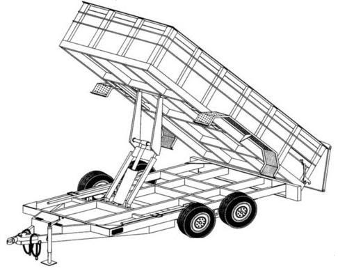 "HYDRAULIC DUMP TRAILER PLANS- 14' X 6'4"" TANDEM AXLE"