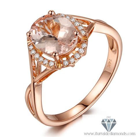 Oval Cut Morganite Curved Band Diamond Halo Engagement