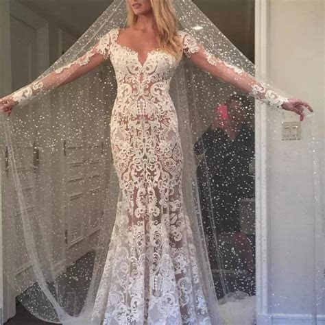 Long Appliques Backless Lace Mermaid Ivory Long Sleeve