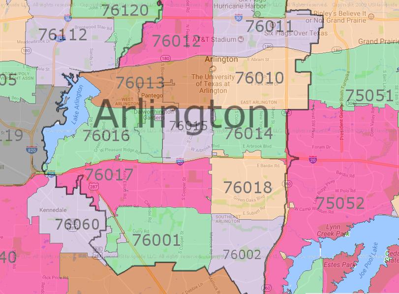 Zip Code Map Arlington Tx | World Map Interactive