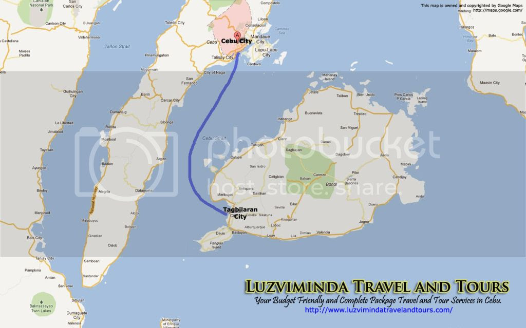Cebu City + Bohol Countryside Day Tour Itinerary Package Route