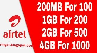 Airtel data plan of 1gb, 2gb and 4gb for 200, 500 and 1000