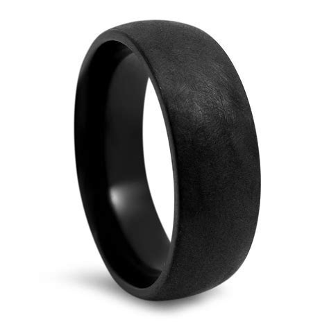 7mm Rustic Brushed Finsh Mens Black Titanium Wedding Band
