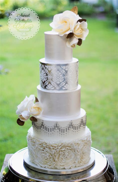Classic Modern Silver/pearl Wedding Cake   CakeCentral.com