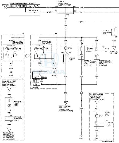 Honda Accord Circuit Diagram Interior Lights Body Electrical Honda Accord Mk8 2008 2012 Service Manual