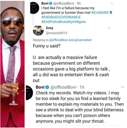 "#EndSARS: ""See a shrink"" Bovi slams Twitter user who accused him of never using his comedy to tackle Nigerian government"