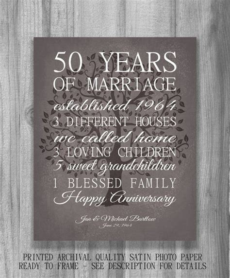 50th Anniversary Gift for Parents Keepsake 50 Year