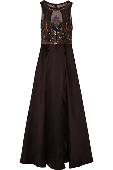 chocolate brown satin art deco gown badgley mishka