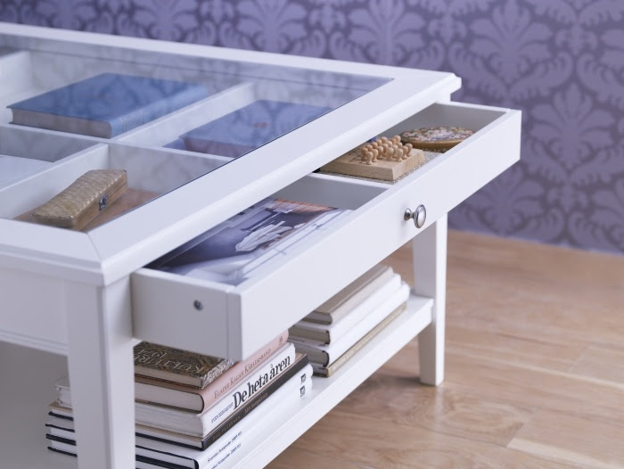 Coffee Table With Glass Display Drawer Kitchen Design