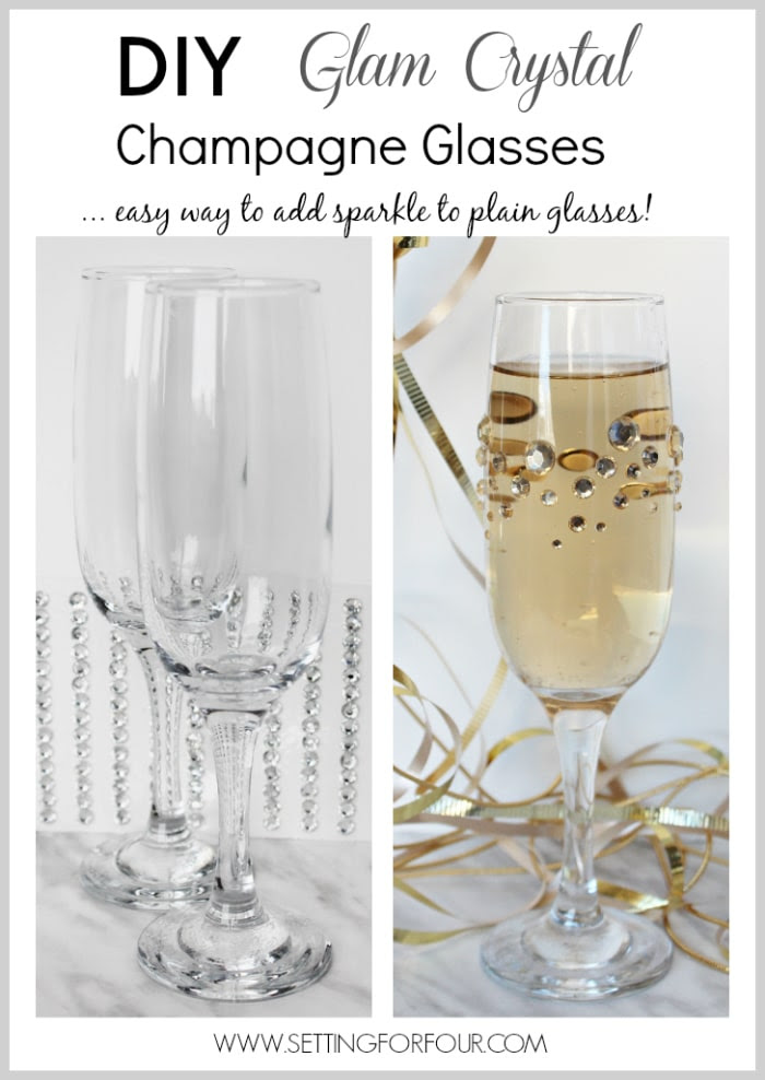 Fast, Fun and Fabulous! Make beautiful, quick and easy DIY Glamourous Crystal Rhinestone Champagne glasses for your next party! Dress up plain party glasses with some pretty sparkle and shine. You won't believe how straightforward this tutorial is!  www.settingforfour.com