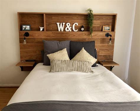 love  wooden headboard  shelves  husband