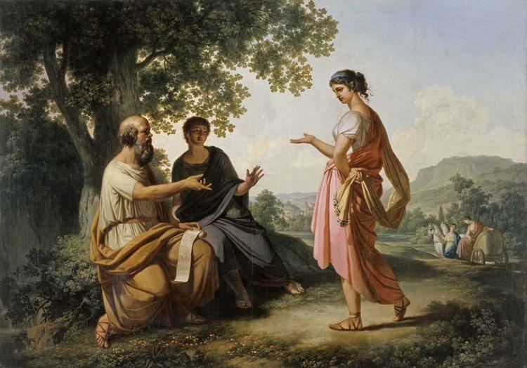 Franc_Kavčič_-_Sokrat_z_učencem_in_Diotimo