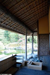 a veranda with some equipment for casual tea ceremony, at Katsura Imperial Villa, in Kyoto