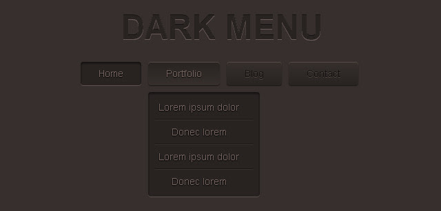 DARK MENU: PURE CSS3 TWO LEVEL MENU