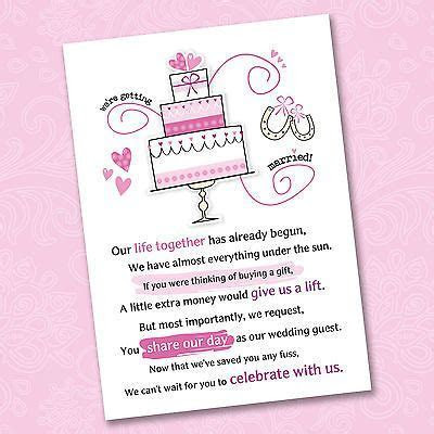 25 x Wedding Poem Cards For Your Invitations   Ask
