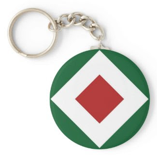 Green, White, Red Diamond Pattern Key Chain