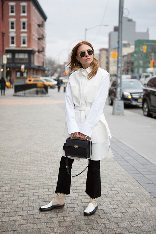 Le Fashion Blog White Button Down Black Flare Jeans Chunky Mules Blogger Courtney Trop Via Always Judging