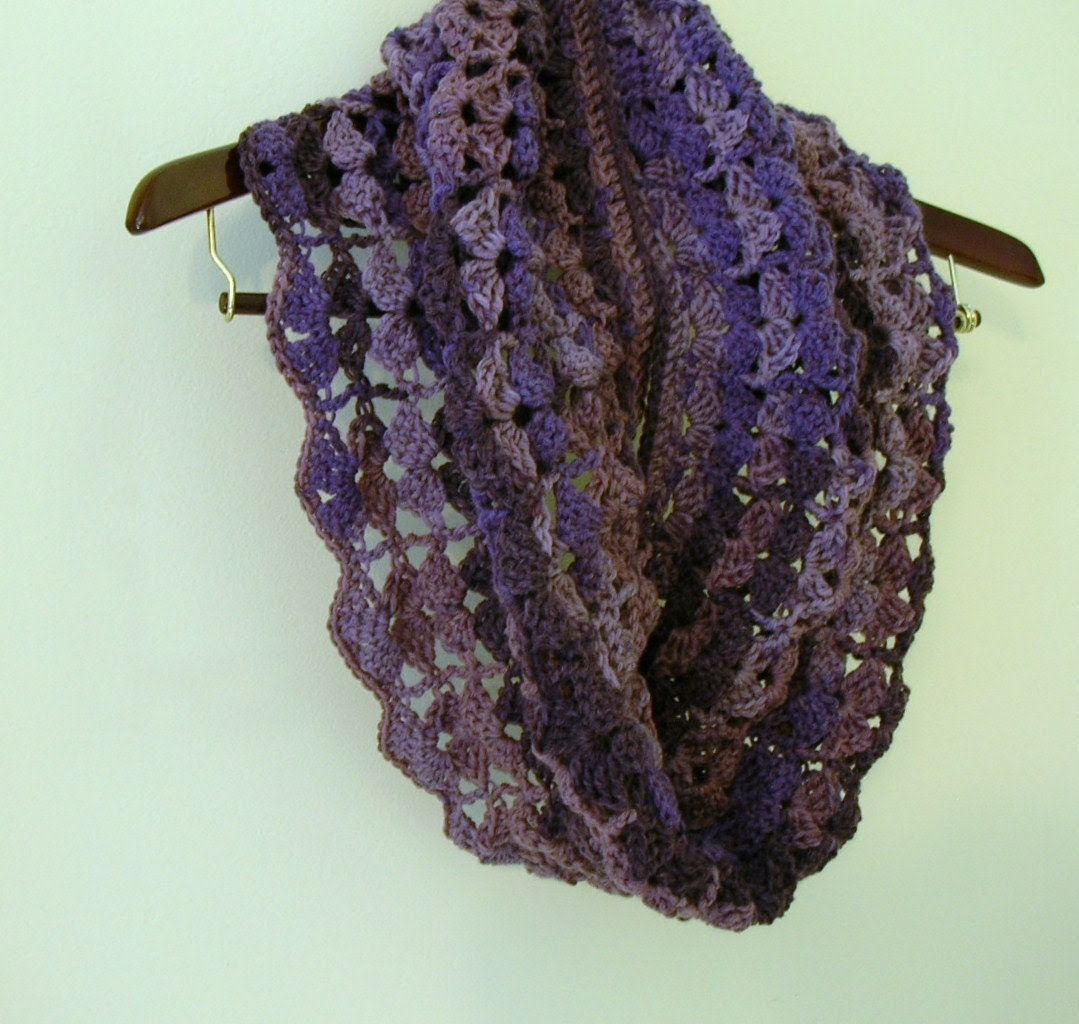 Crochet Infinity Scarf Cowl -Purple Tones