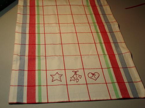 Moda tea toweling with Bird Brain Designs stitcheries.