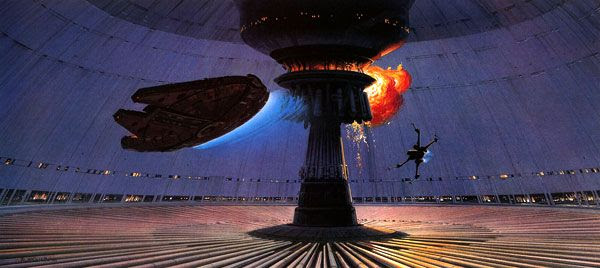 Conceptual artwork of the Millennium Falcon and an X-Wing fighter escaping from the Death Star in RETURN OF THE JEDI.