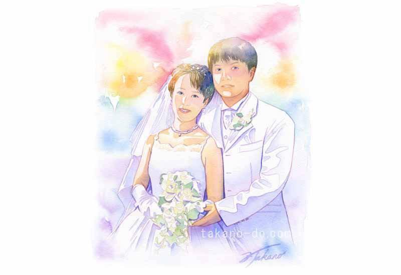 S03 結婚式 水彩画 手描きイラスト 人物 手書きイラスト Wedding