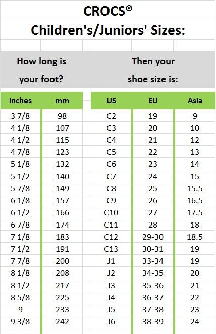 Home > Crocs Size Chart