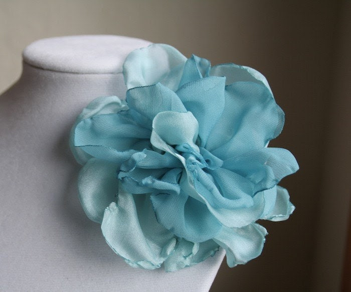 Turquoise and Aqua Hair Pin Clip Brooch Fabric Flower Rose