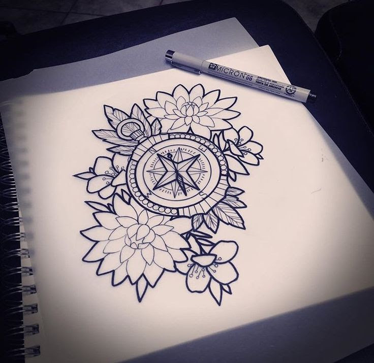 Outline Flowers And Compass Tattoo Design