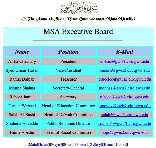 MSA Executive Board Huma Abedin