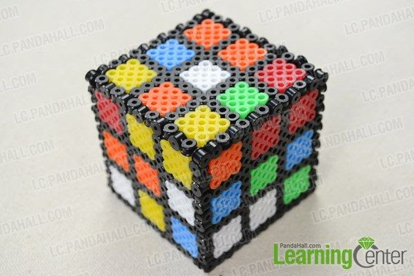 Finish the 3D perler bead cube designs