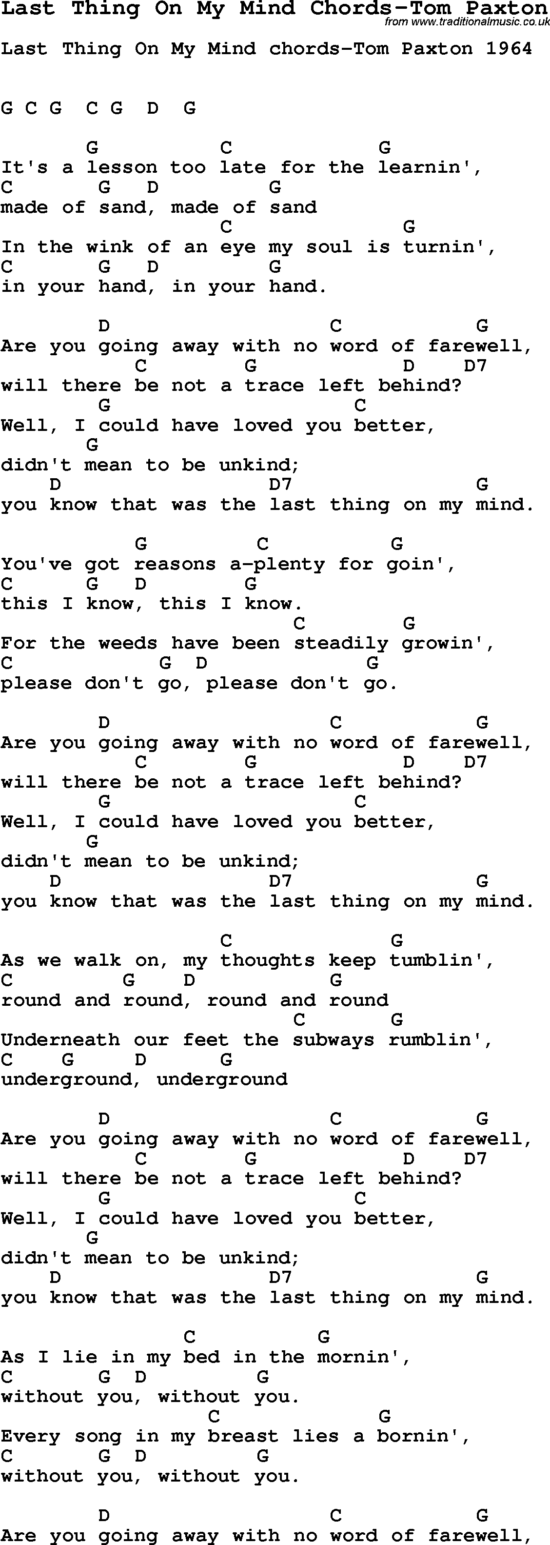 Summer Camp Song Last Thing On My Mind Chords Tom Paxton With